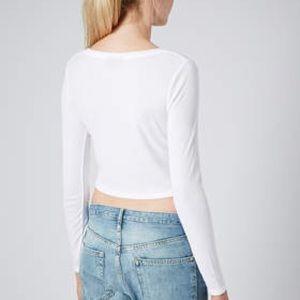 TOPSHOP White Long Sleeves Crop